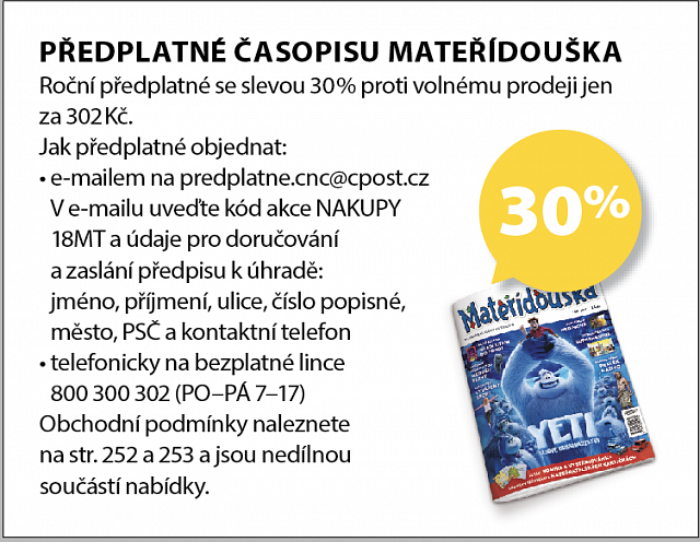 Obrázek kupónu - PŘEDPLATNÉ ČASOPISU MATERÍDOUŠKA