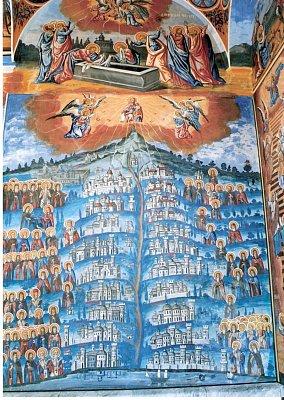 svatá hora Athos - freska v rumunské skitě