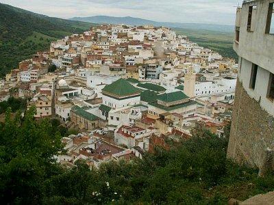 Moulay Idriss - Pohled na město - Město prý připomíná dvouhrbého velblouda s hrobkou a zaouiou Moulaye Idrisse jako sedlem mezi hrby. To je ten komplex budov se zelenou střechou.  (nahrál: Petr Kubík)