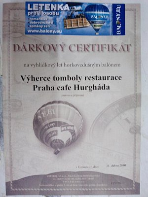 PRAHA cafe 1. místo v tombole (nahrál: BaR)