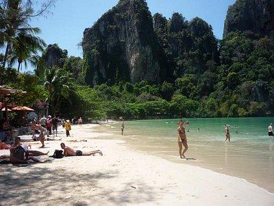 Krabi - pláž Rayley West při přílivu (nahrál: Antonín Šťastný)