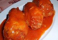 Bezpřílohové pečené plněné papriky v rajské omáčce