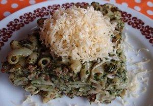Špenátové těstoviny se sýrem - zapečené