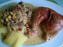 Kuře na žampionech a zelenině