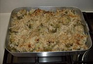 Zapečený květák s rýží, gorgonzolou a parmezánem