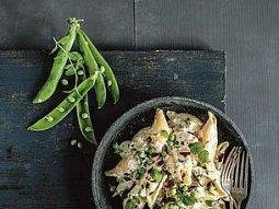Těstoviny s hráškem a sýry