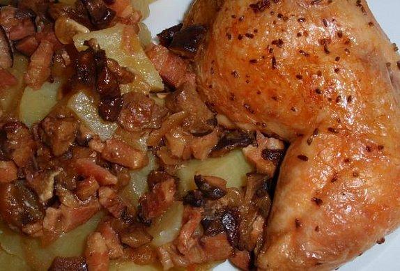 Česnekové kuře na houbách