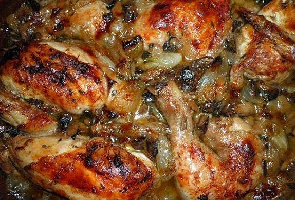 Kuře s hříbky a tymiánem na víně