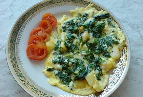 Špenátovo-bramborová omeleta