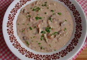 Chlebová polévka se žampiony (hlívou)