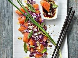 Lososové sashimi