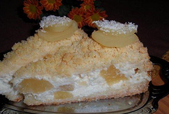 """""""Piña Colada"""" ananasovo-kokosové řezy (dort)"""