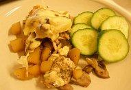 Zapečené brambory s žampiony a kuřecím