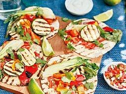 Tacos s grilovanou zeleninou a omáčkami