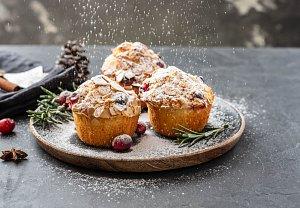 Brusinkovo-mandlové muffiny