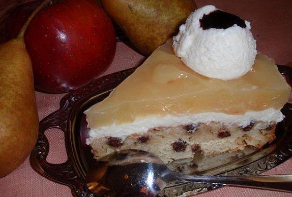 Jablečný či hruškový dort (řez) s tvarohovým krémem photo-0