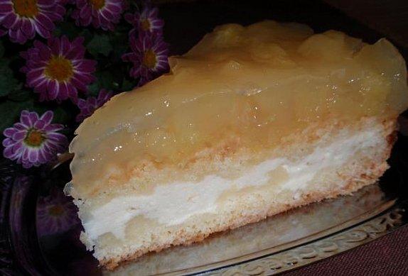 Drobenkový koláč (řez, dort) s ovocným želé - bez vajec