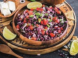 Mexický salát Pico de gallo z červeného zelí