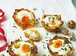 Křepelčí vejce v bramborovém košíčku