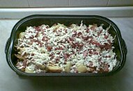 Pečené brambory pod slaninou a nivou